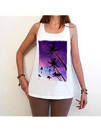 Miami Beach T-Shirt Femme,Blanc, t shirt femme,cadeau
