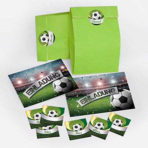 12 Einladungskarten incl. 12 Umschläge und 12 Party-Tüten mit 12 Aufkleber zum Kindergeburtstag Fußball Fussball Party / Einladungen zum Geburtstag (12 Karten + 12 Umschläge + 12 Party-Tüten + 12 Aufkleber)