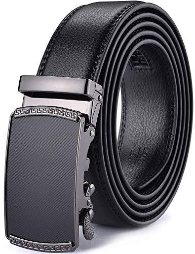 Xhtang Gürtel Herren Automatik Gürtel mit Automatikschließe-3,5cm Breite (Länge 125cm Geeignet für 37-43 taille, Schwarz8) (Kleidung Für Große Männer)
