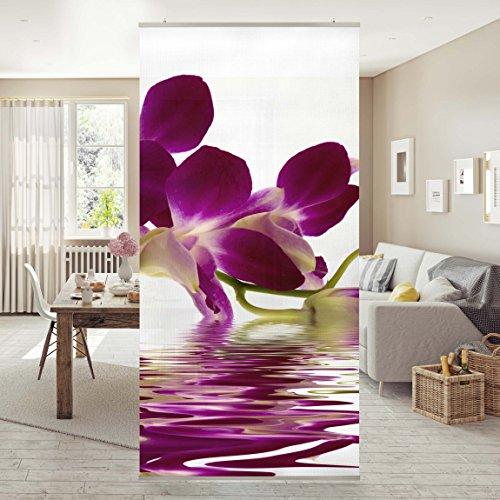 Flächenvorhang Set Pink Orchid Waters 250x120cm | Schiebegardine Schiebevorhang Raumtrenner Vorhang Raumteiler Gardine Paravent Wandbild...
