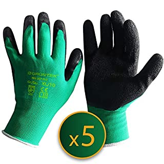 GRÜNTEK Gardening Gloves - 5 Pairs Size XL /10. Gloves Latex coated, for private and commercial use (XL /10)