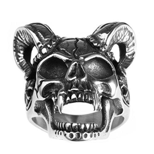 PAMTIER Herren Ziege Horn Schädel Ring Edelstahl Jahrgang Gothic Teufel Biker Band Größe 54 (17.2) - Schädel-ringe-titan