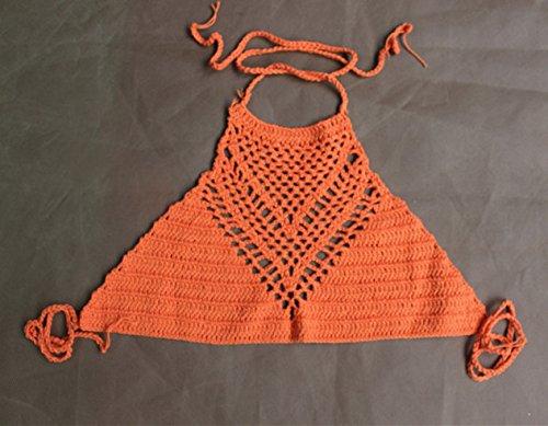 Bikinioberteil Neckholder Neckholder Push Up Retro Neckholder Gehäkelt Hochgeschlossen Bikinis Camisole Orange