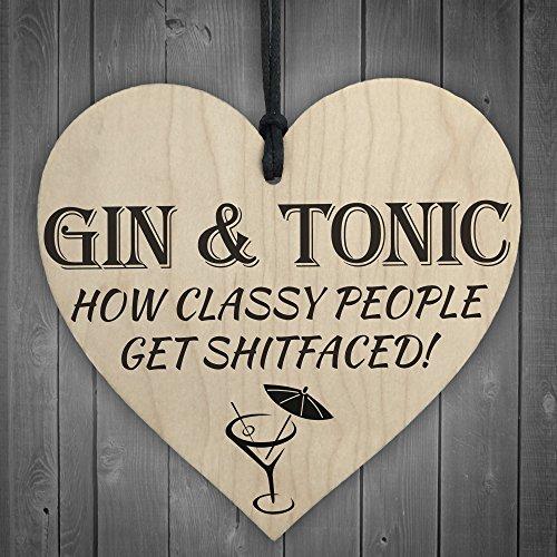 Corazón de madera Red Ocean, con cuerda para colgar, con texto impreso «Gin & Tonic Classy People»