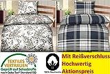 2-4 teilig Hochwertige Biber Bettwäsche Bettbezug 135x200 cm + Kissenbezug 80x80, Öko Tex Standard 100 (4 teilig, Floral)
