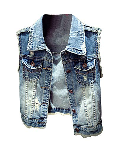 Donna Slim Fit Gilet Jeans Senza Maniche Giacca Corte Eleganti Blu S