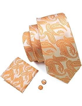 Barry.Wang Paisley Tie set con gemelli designer fazzoletto di seta cravatte