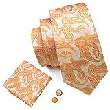 Barry. Wang Paisley corbata Set con pañuelo Gemelos funda para corbatas de seda Naranja Luz Naranja...