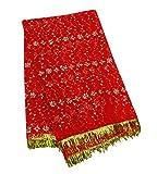 PEEGLI Indische Blumenmuster Dupatta Jahrgang Stahl Roten