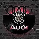 Hohl Auto Audi Logo CD Vinly Rekorduhr Erstellen Geschenk für Auto Liebhaber Wand Farbe Kunst Wohnkultur Vintage Hängen Wanduhr 7 Farben