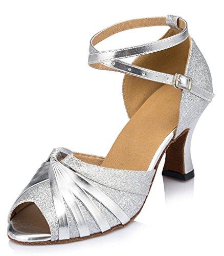 Honeystore Damen's Peep Toe mittelhohem Absatz Latein Tanzschuhe Silber