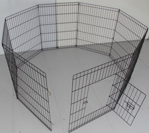 BUNNY BUSINESS 8 Panel Playpen Suitable for Rabbits/Guineas/Dogs and Cats, Small, Black 4