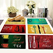 Brick Home Quirky Quotes and Utensils Digital Printed Table Mat (Set of 6) (Multicolor)