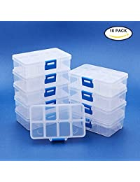 BENECREAT 10 Pack 8 Grids Jewelry Dividers Box Organizer Adjustable High Quality Clear Plastic Bead Case Storage Container 11x6.9x3cm, Compartment: 3x2.5cm