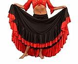 selecte-plus Damen Rock von Flamenco Dance 2Zierrändern schwarz-rot Größen: S/M/L/XL/XXL - M:142-155CM