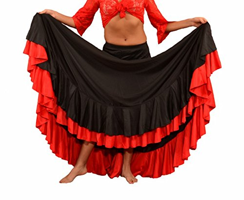 Falda de flamenco para mujer 2 volantes, color negro rojo, Negro con volante rojo, Large