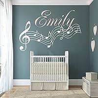 Wandschnörkel® Wandtattoo mit Namen HM~AA364 +Noten Mix Set Wunschnamen Kinderzimmer Türschild Baby Mädchen Jungen Türaufkleber, personalisiert (jetzt auch andere Farben zur Auswahl)