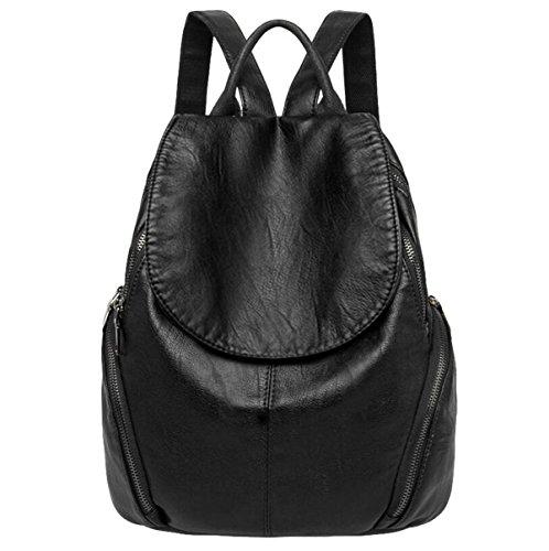 Umhängetasche Lässig Wilde Mama Damen Leder Leder Rucksack Mode,Black-OneSize