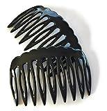 2 x Einsteckkamm ca. 7,5 x 4,7 cm schwarz Steckkamm Spaltzahn