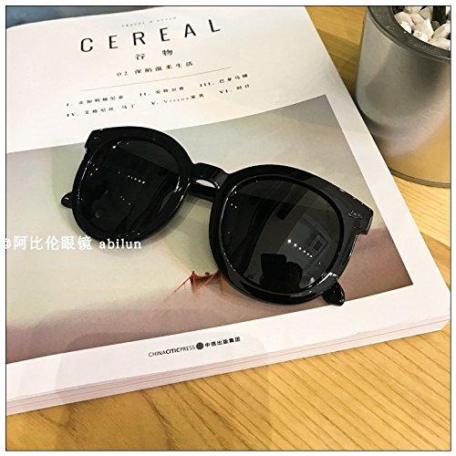 Sunyan Große weiche abgerundete Sydney Wu Yifan Sonnenbrille transparent Rahmen Pfeilspitze, Black Box Schwarze Pfeilspitze schwarz
