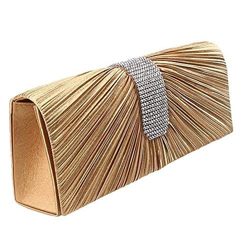 Womens Satin Diamante Ladies Pleated Bow Wedding Bridal Prom Handbag Clutch Bag (Gold)