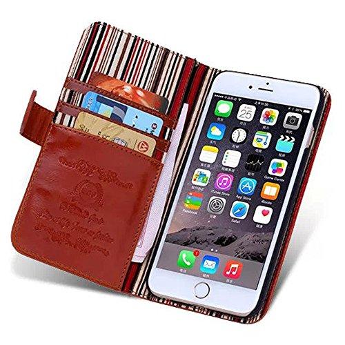 iPhone 6Cas, de haute qualité pour téléphone sac multifonction Support PU Housse en cuir pour iPhone 4.7 Rose vif