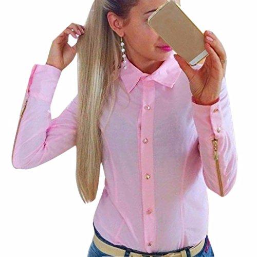 Quadrat Hals T-shirts Tops (Frauen Round Neck Langarm Polyster Tops duennen Reissverschluss Shirt T-Shirt Bluse)
