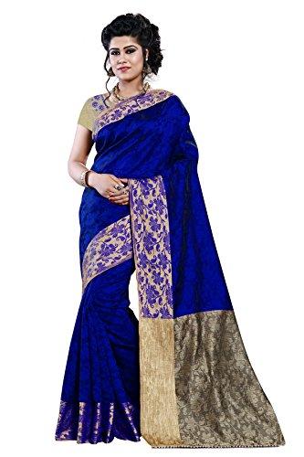 Arawins Women's Exclusive Designs in Blue Jacquard Cotton Silk Half & Half...