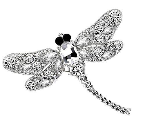 Cdet Brosche Diamanten Farbige Libelle Legierung Dek Frauen Brosche/Herren Brosche Anzug Brooch / Hochzeit Dekoration/ Geburtstags Geschenk Pin,1 Stuck size 9.1x7.5cm (Weiss) (Libelle Vintage-kleidung)