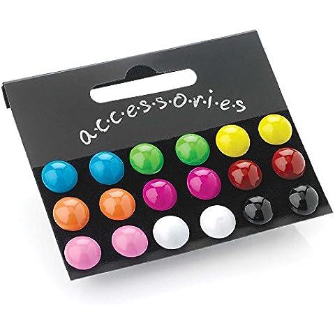 9 colori brillanti, orecchini a perno rotondi di plastica