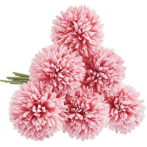CQURE Unechte Blumen,Künstliche Blumen Deko Blumen Gefälschte Blumen Künstliche Hortensien kunstblumen Braut Hochzeitsblumenstrauß für Haus Garten Blumenschmuck 6 Köpfe(Dunkelrosa)