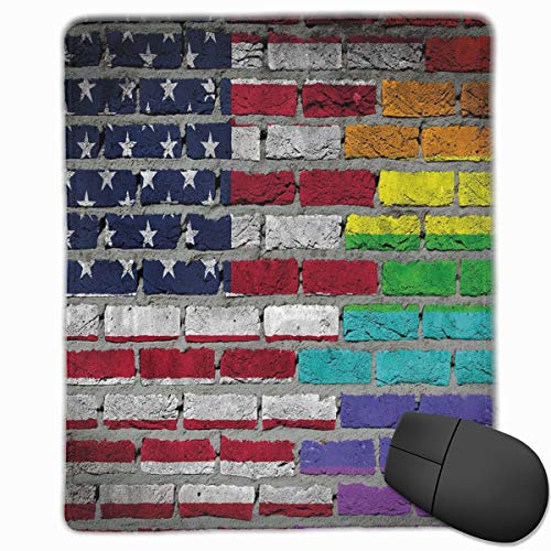 Mouse Mat Stitched Edges, Grunge Dark Brick Wall With American And Rainbow Flag Painted Together,Gaming Mouse Pad Non-Slip Rubber Base -