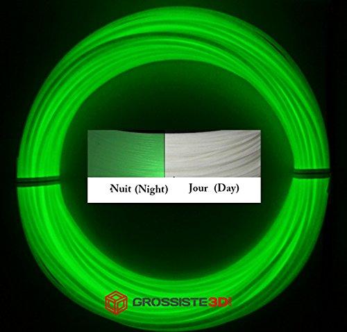 Rouleaux de 10 mètres Filaments 3D Phosphorescent Vert PLA 1.75mm pour stylo 3D ou imprimante 3D Grossiste3D®