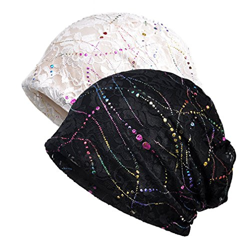 Frauen Chemo Hut Stripe Lace Beanie Hut Baumwolle Soft Turban Headwear Head Wraps (White Beanie Stripe)