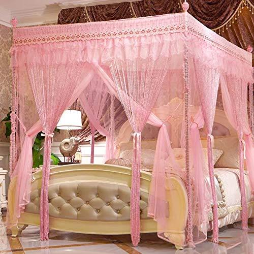 YY-zxf 4 Eckbett Baldachin Vorhang Double Layer Palace Moskitonetz Bett Rahmen Vorhänge für Mädchen Jungen Erwachsene Bett Geschenk,PINK,2.0 * 2.2m (Kind Bett-rahmen-mädchen)