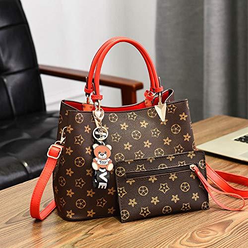 LFGCL Taschen womenLarge-Capacity Eimertasche Handtasche alte Blume PU-Frauentasche Umhängetasche der Frauen, rot