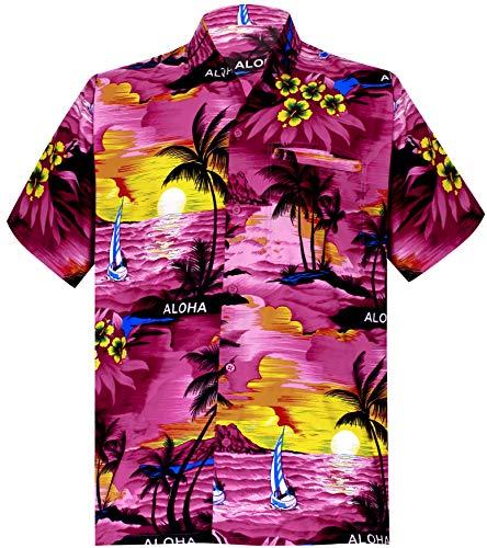 LA LEELA männer Hawaiihemd Kurzarm Button Down Kragen Fronttasche Beach Strand Hemd Manner Urlaub Casual Herren Aloha Rosa_291 7XL Likre 538