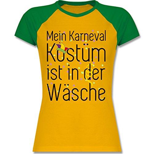 Shirtracer Karneval & Fasching - Mein Karneval Kostüm ist in der Wäsche - Zweifarbiges Baseballshirt/Raglan T-Shirt für Damen Gelb/Grün