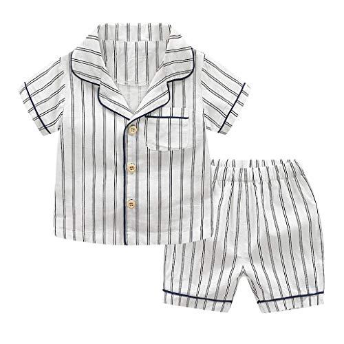 treiftes Kinder-Kurzarm-Reversoberteil + Kurze Schlafanzüge Home Service Set Säuglingsbaby-Kinderkurzschluss Hülsen Gestreifte Oberseiten + Kurzschluss-Pyjama-Ausstattungs-Set ()