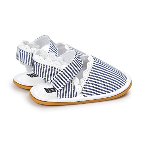 Estamico, Chaussures bébé fille premier pas, Sandales d'été de semelle en caoutchouc bébé Rayures bleues