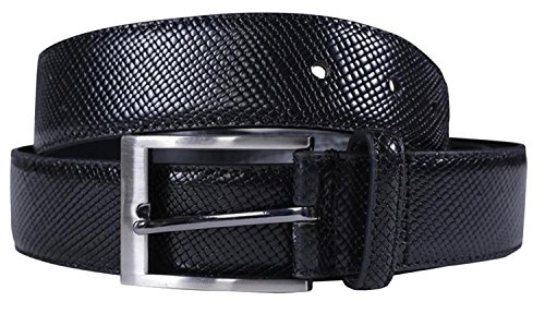 Chocolate Pickle® Neu Herren 35mm Breit Reptil Haut Echt Leder Stift Gürtel Black - Jeans Trousers Belts S (Black Jean Chocolate Denim)