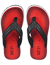 DOT21 Men's Textured Leisure Thong-Styled Slippers| Color - Red & Black | Anti-Slip & Casual Flip Flops