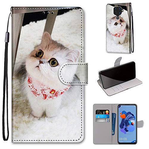 Miagon Flip PU Leder Schutzhülle für Huawei Mate 30 Lite,Bunt Muster Hülle Brieftasche Case Cover Ständer mit Kartenfächer Trageschlaufe,Schal Katze