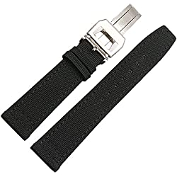 NW 22mm Black Canvas Leather Watch Strap Band Clasp Suitable IWC Portofino Pilot