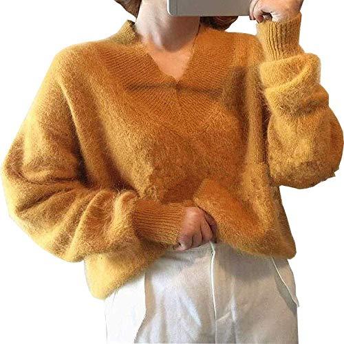 Missoul Women Puff Lantern Sleeve V-Neck Pullover Sweater Winter Stretchable Elasticity Oversized Tops (Ginger) -