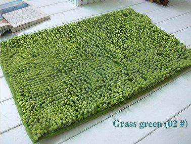 Lnxd Home Decoration Badematten Chenille Teppich Matten Fußmatte Küche Badezimmer saugfähigen Rutschfeste Matte Tapete kann angepasst werden, Gras Grün 02,400 mmx600mm