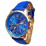 Vovotrade 2016 femmes élégantes chiffres faux cuir montre-bracelet à quartz analogique(Bleu)