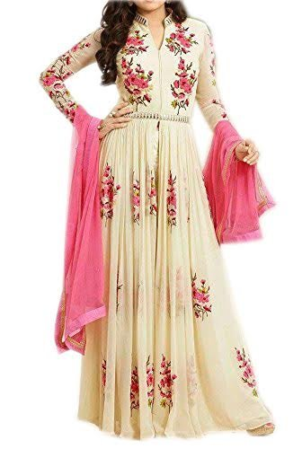 Womens Cream Color Net Fabric Anarkali Punjabi Dress Material With work by Salwar Style