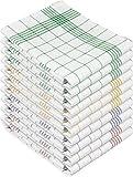 normani 10 x Hochwertige, saugstarke Halbleinen Geschirrtücher Gläsertücher waschbar bis 60° C Farbe Grün/Gelb/Blau/Rot-Kariert