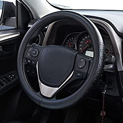 FMS Universal Leather Steering Wheel Cover Universal 14-1/2~15-1/8 inch (37~38.5 cm) cm Car Steering Wheel Protector, Durable, Breathable, Anti Slip, No Smell (Black)